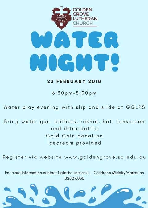 All students are welcome to attend Children of Christ Water Night on February 23, 2018.  Please register for the night on the school website.