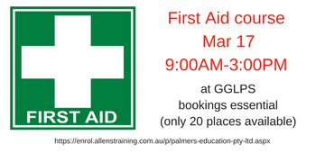 GGLPS P&F has arranged for the Provide First Aid (HLTAID003) course to be provided at school. Saturday 17th March 2018 9.00am to 3.00pm School Staff Room Cost $115 per person