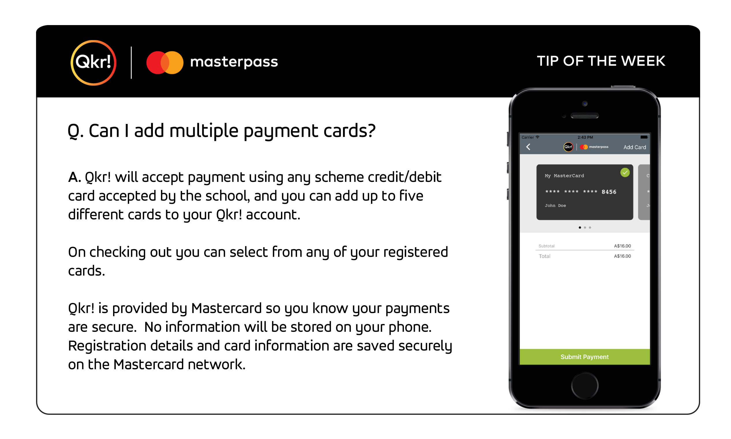 Provides answers to - can I add multiple payment cards?